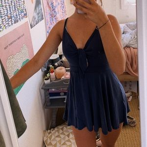 urban outfitters navy blue tie front romper